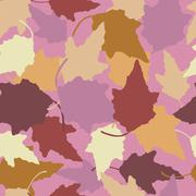 Seamless pattern of pastel colored leaves from the bush - stock illustration