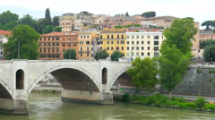 traditional apartments on tiber riber, rome, italy, 4k - stock footage