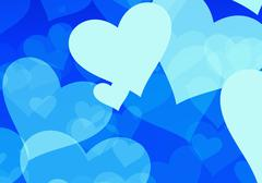 flying white hearts on blue backgrounds - stock illustration