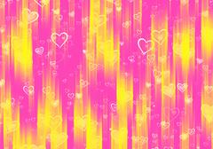 Many hearts background with rays Stock Illustration