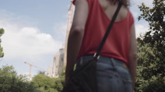 Female Tourists on vacation admiring Cathedral, Barcelona Stock Footage