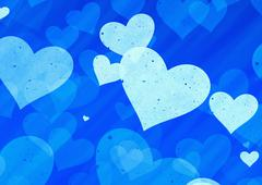 Dreamy light hearts on blue background Stock Illustration