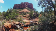 Red Rock Butte And Small Stream- Sedona Arizona - stock footage