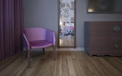 Single dark pink armchair near wall with patterned mirror Stock Illustration