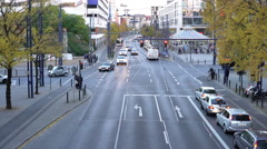 Street traffic at intersection in German town of Offenbach 4k Stock Footage