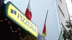 Pizzeria sign at Italian restaurant 4k - stock footage