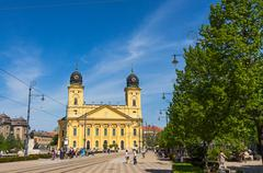 Kossuth square and Protestant Great Church in Debrecen, Hungary Stock Photos