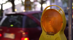 Flashing caution light at construction in city downtown 4k Stock Footage