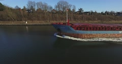 Aerial view of an cargo vessel in the kiel canal Stock Footage