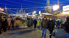 Christmas market on Red Square in Moscow, Russia Stock Footage