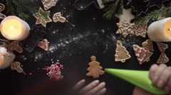Woman hands. Traditional homemade christmas dessert Stock Footage