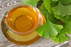 Ginkgo tea with fresh leaves Stock Photos