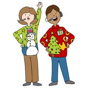 People Wearing Ugly Christmas Sweaters Stock Illustration