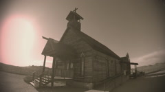 Old Fashioned Wooden Church In Old West Town- Sepia Tone Stock Footage