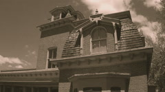 Old West Historic Victorian Era House Detail Shot- Sepia Tone Stock Footage