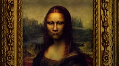 Mona Lisa grimaces, smiles, frowns, wondering - stock footage