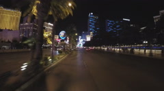 POV Driving Las Vegas Boulevard At Night- Fast Motion 10sec Stock Footage