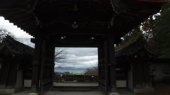 Buddhist Temple Gate in Japan Stock Footage