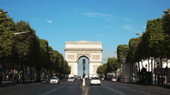 Morning view of the arc de triomphe and the avenue champs de elysees Stock Footage