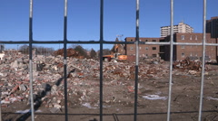Public social housing buildings being demolished for rich condominiums Stock Footage