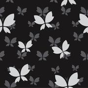 Vector seamless pattern with gray butterfly on black background. wallpaper - stock illustration