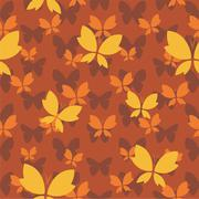 Vector seamless pattern with butterfly on brown background. wallpaper - stock illustration