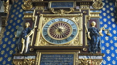 Close up view of the conciergerie clock, the oldest clock in paris Stock Footage