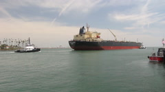 Crude Oil Tanker Leaves Port - stock footage