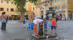 ROME - ITALY, AUGUST 2015: drinking tap water from fountain Stock Footage