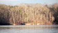 Stock Video Footage of following the migratory birds in flight across lake