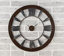 Rusty clock hanging on white brick wall - stock illustration