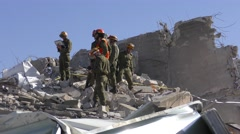 Israeli Homeland Security Soldiers search for earthquake injured people Stock Footage
