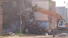 Stock Video Footage of Toronto regent park public housing project demolished for new condos