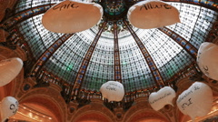 The ceiling of galeries lafayette, paris Stock Footage