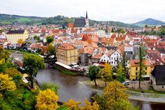 Cesky Krumlov oldtown city and river - stock photo