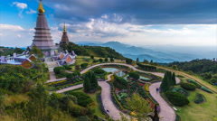 The Great Holy Relics Pagoda Of Doi Inthanon National Park Chiang Mai, Thailand - stock footage