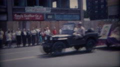 1962: Army jeep pulling parade float of religious church people. BUFFALO, NEW - stock footage