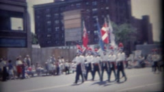 1962: Patriotic colorful 4th of July marching band parade   BUFFALO, NEW YORK Stock Footage