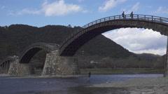 Kintai Bridge and Iwakuni Castle in Iwakuni, Japan Stock Footage