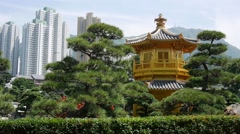 Pavilion of Absolute Perfection in Hong Kong Nan Lian Garden at Sunny Summer Day - stock footage