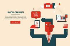 Shop online e-commerce concept Piirros