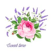 Stock Illustration of Single rose card