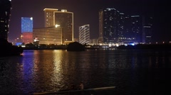 Buildings, Traffic and Water Lights in Night Macau - stock footage