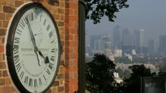 Royal Observatory Clock and Canary Wharf Stock Footage