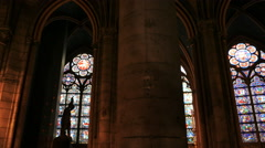 Gimbal shot walking inside notre dame cathedral, paris Stock Footage