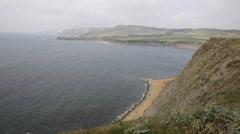 Dorset coast Kimmeridge Bay east of Lulworth Cove England uk misty morning Stock Footage