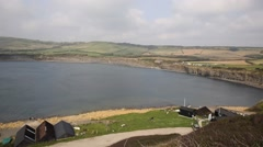 View of Kimmeridge Bay Dorset jurassic coast England uk - stock footage