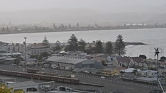 A town in New Zealand. Napier, Hawkes Bay,railway industrial town view Stock Footage