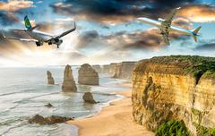 Airplanes over Twelve Apostles, The Great Ocean Road. Tourism concept Stock Photos