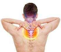 NECK Pain - Male Hurt Cervical Spine isolated on white - REAL Anatomy concept Stock Photos